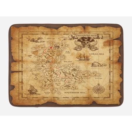 Island Map Bath Mat, Super Detailed Treasure Map Grungy Rustic Pirates Gold Secret Sea History Theme, Non-Slip Plush Mat Bathroom Kitchen Laundry Room Decor, 29.5 X 17.5 Inches, Beige Brown, Ambesonne for $<!---->