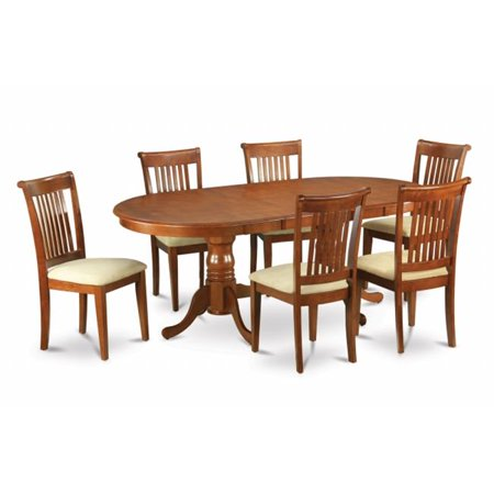 East West Furniture PLPO5-SBR-C 5-Piece Plainville Table with Double Pedestal & 4 Portland Padded Seat Chairs in Saddle Brown Finish Finish Double Carving Pedestal Table