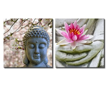 wall26 Two Piece Canvas - Buddha Statue with Cherry Blossoms and a Lotus on 2 Panels - Canvas Art Home Decor - 12x12 inches