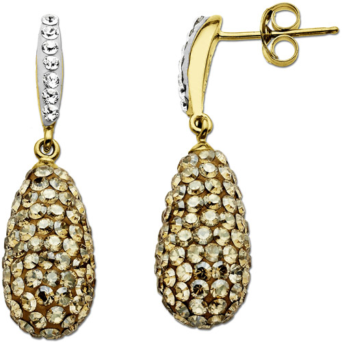 Luminesse 18kt Gold over Sterling Silver Yellow Drop Earrings made with Swarovski Elements