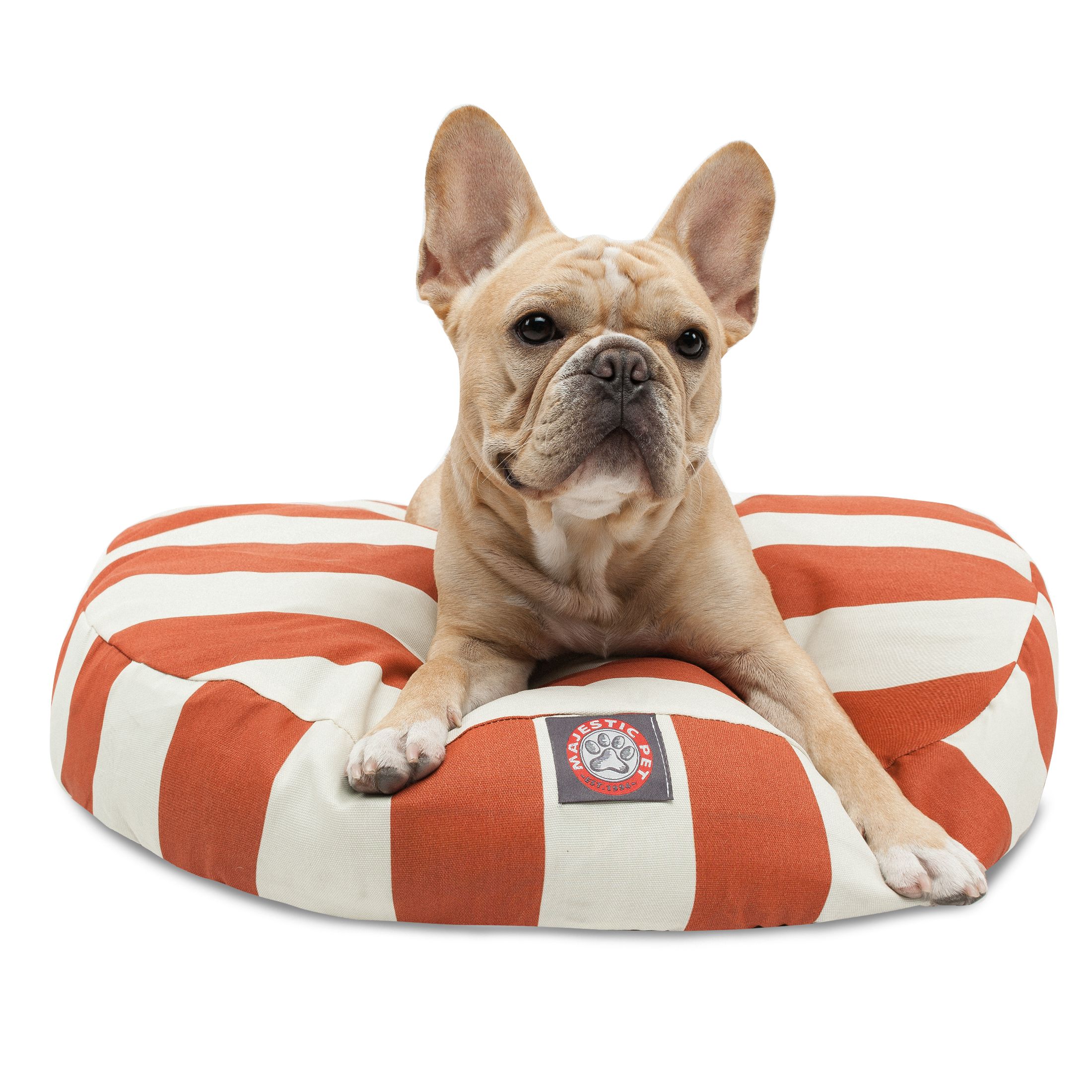 Majestic Pet Vertical Stripe Round Dog Bed Treated Polyester Removable Cover Machine Washable