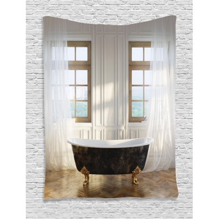 Antique Tapestry Retro Bathtub In Modern Room Interior Hardwood Classics Space Design Wall Hanging For Bedroom Living Room Dorm Decor White Black