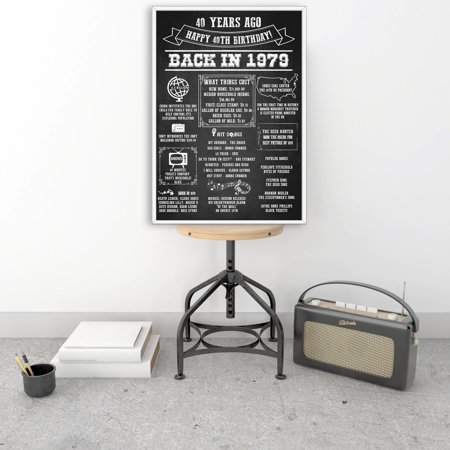 40th Birthday sign, Happy 40th Birthday Chalkboard Sign, Black and white, 40th Happy Birthday Sign, 40th Birthday Decorations, Back in 1979 Poster, Chalkboard Backdrop (Best Bar Chalkboard Signs)