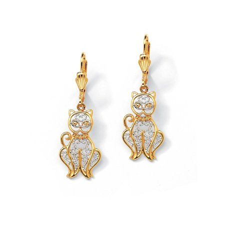 (18k Gold-Plated Two-Tone Filigree Cat Drop Earrings)