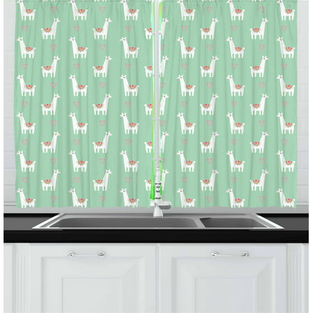 Llama Curtains 2 Panels Set, Cute llama with Candy Cane Hearts Fun Pattern on Mint Green Background, Window Drapes for Living Room Bedroom, 55W X 39L Inches, Mint Green Multicolor, by Ambesonne