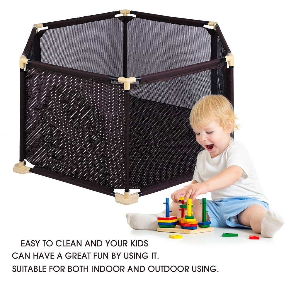 Portable Baby 6 Panel Gate Playsafe Play Yard Infant Pet Secure Surround Game Fence Safety Crawling Guardrail Com