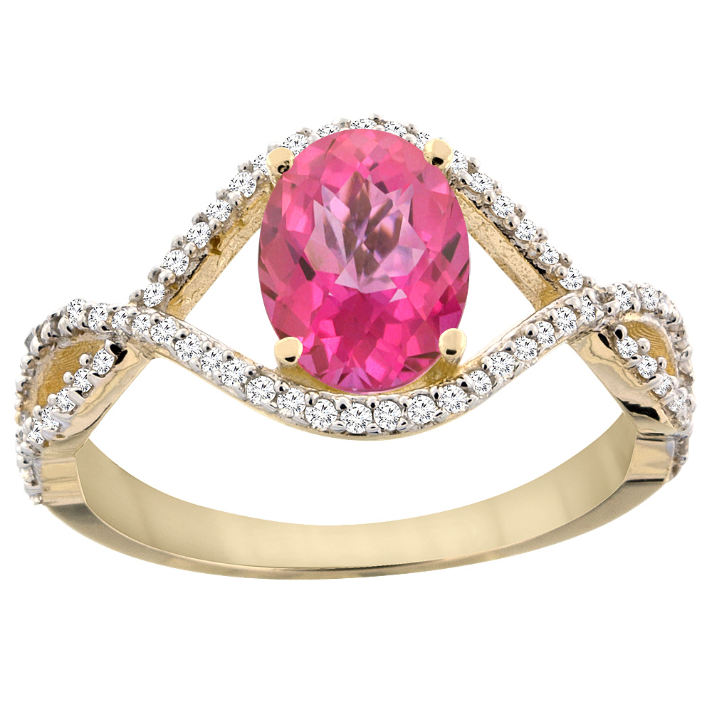 14K Yellow Gold Natural Pink Sapphire Ring Oval 8x6 mm In...