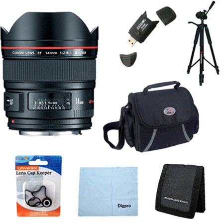 Canon EF 14mm f/2.8L II USM Ultra-Wide Angle Lens for Canon Digital SLR Cameras w/ Deluxe Bag, Lens Cap Keeper, Microfiber Cleaning Cloth, Memory Card Wallet, USB 2.0 Card Reader, Professional Tripod