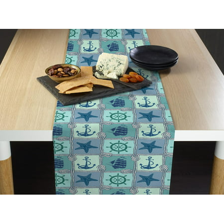 Fabric Textile Products Nautical Patches Table Runner 14