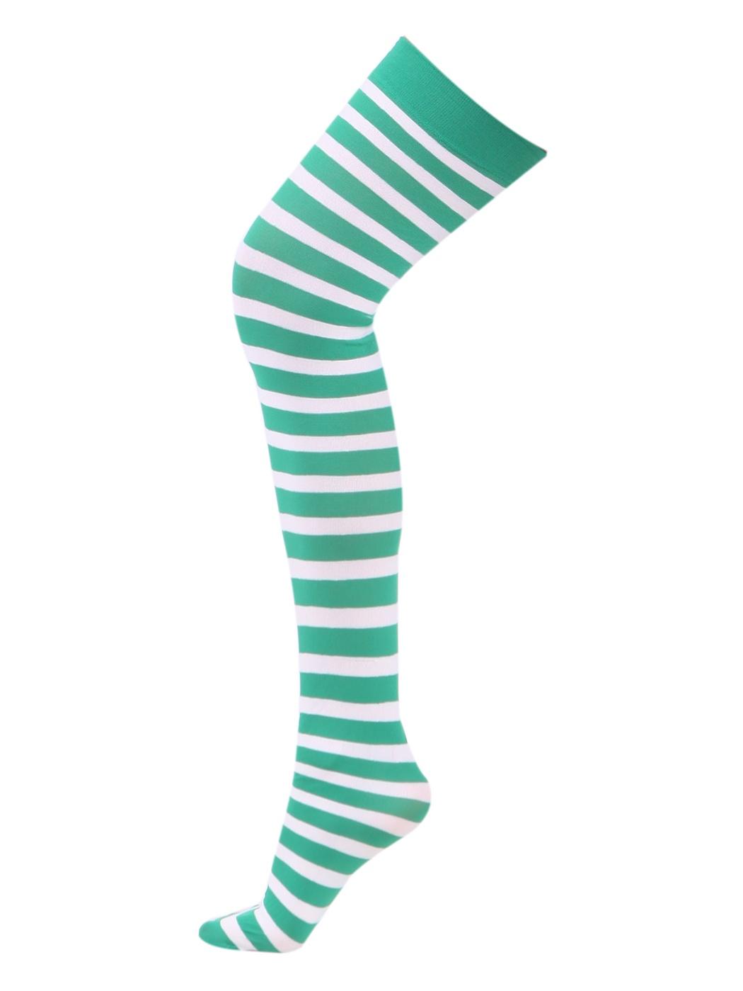 HDE Women's Plus Size Striped Stockings Thigh High Over the Knee OTK Sheer Socks (Red Black Stripes)