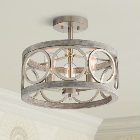Franklin Iron Works Rustic Farmhouse Ceiling Light Semi Flush Mount Fixture Brushed Nickel Gray Wood 16