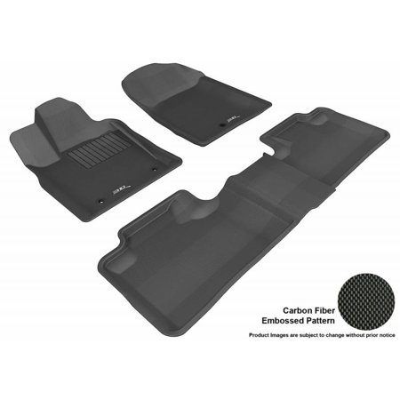 3D MAXpider 2011-2013 Jeep Grand Cherokee 2Nd Row Bench Seat 1st Row 2nd Row Kagu Carbon Fiber Embossed Pattern Black Floor Mat
