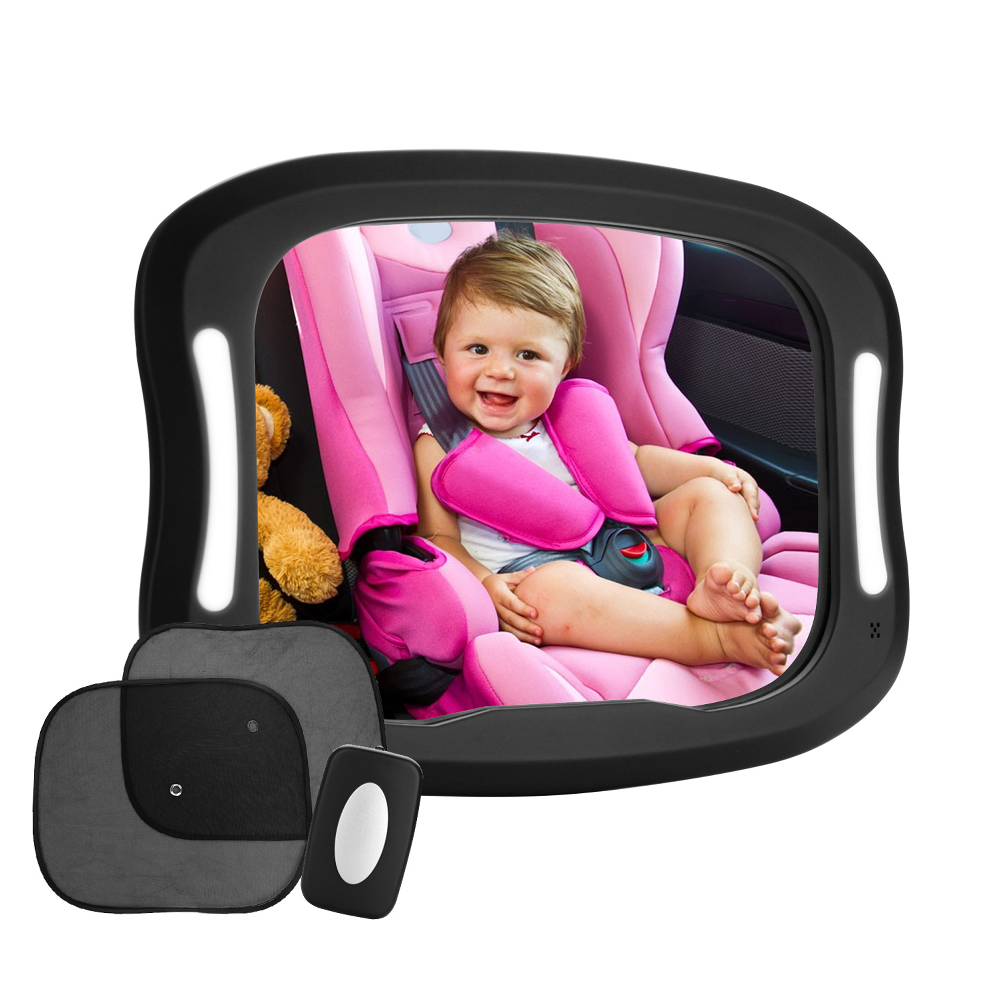IMagE LED Baby Car Mirror, FITNATE 360�Rotatable Design, Large and Stable Mirror with Acrylic Material, Four... by Image
