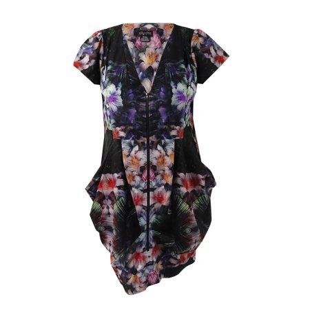 City Chic Women\'s Plus Size Zip-Front Floral-Print Tunic Dress