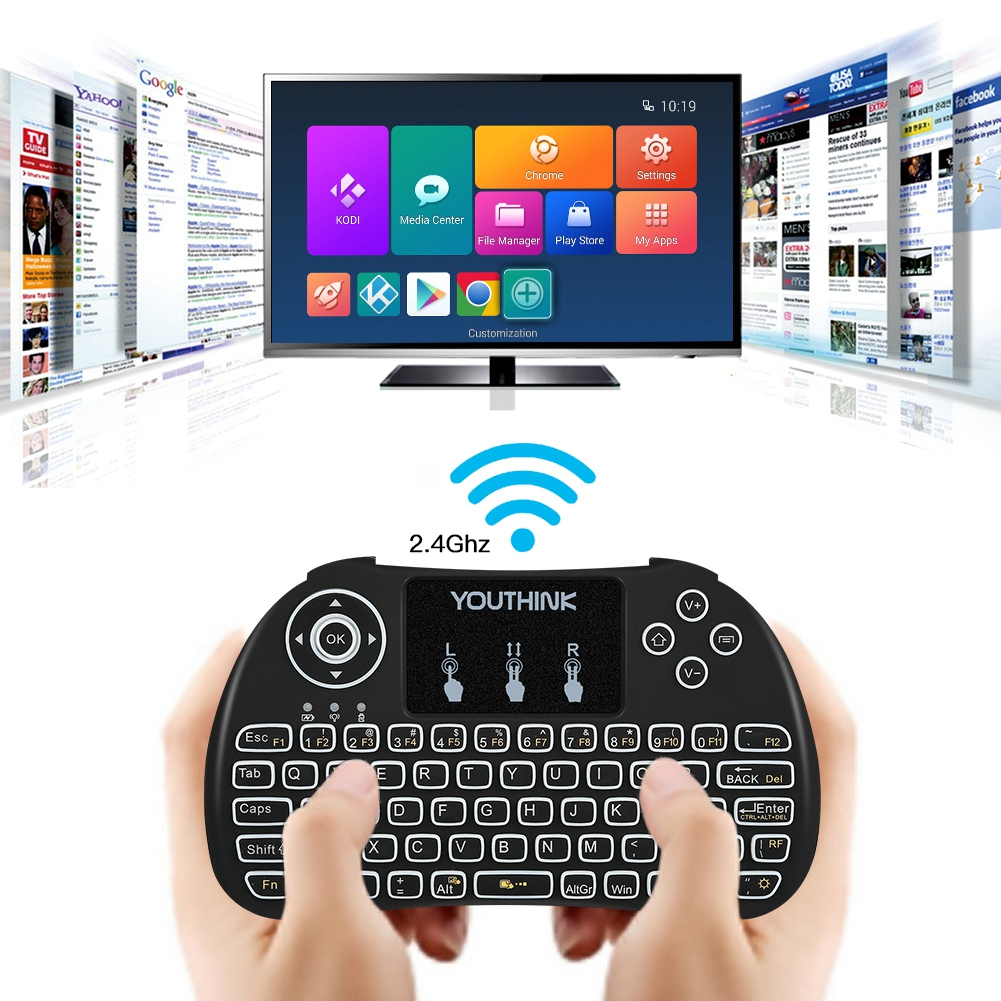 Filfeel Portable Mini Wireless 2.4GHz  Keyboard Mouse Combos USB Backlit Multi-touch For PC TV,Portable Mini Wireless Keyboard 2.4GHz Mouse With Backlit, Mini Wireless Keyboard Remote Control Touchpa