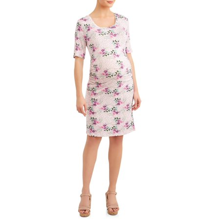 Maternity Elbow Sleeve Scoop Neck Side Ruched Dress