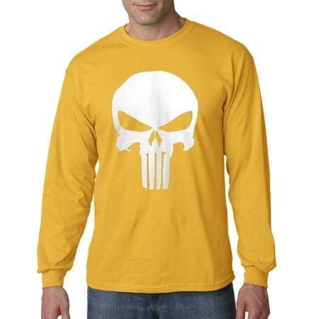 Trendy USA 216 - Unisex Long-Sleeve T-Shirt The Punisher Skull Large Gold - The Punisher Suit