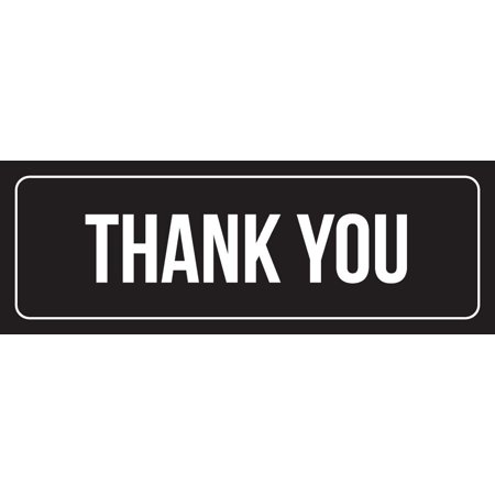 Black Background With White Font Thank You Outdoor & Indoor Office Metal Wall Sign, 3x9 Inch - Give Thanks Sign