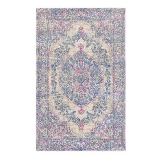 8 X 10 Antique Designs Washed Out Blue And Rose Pink