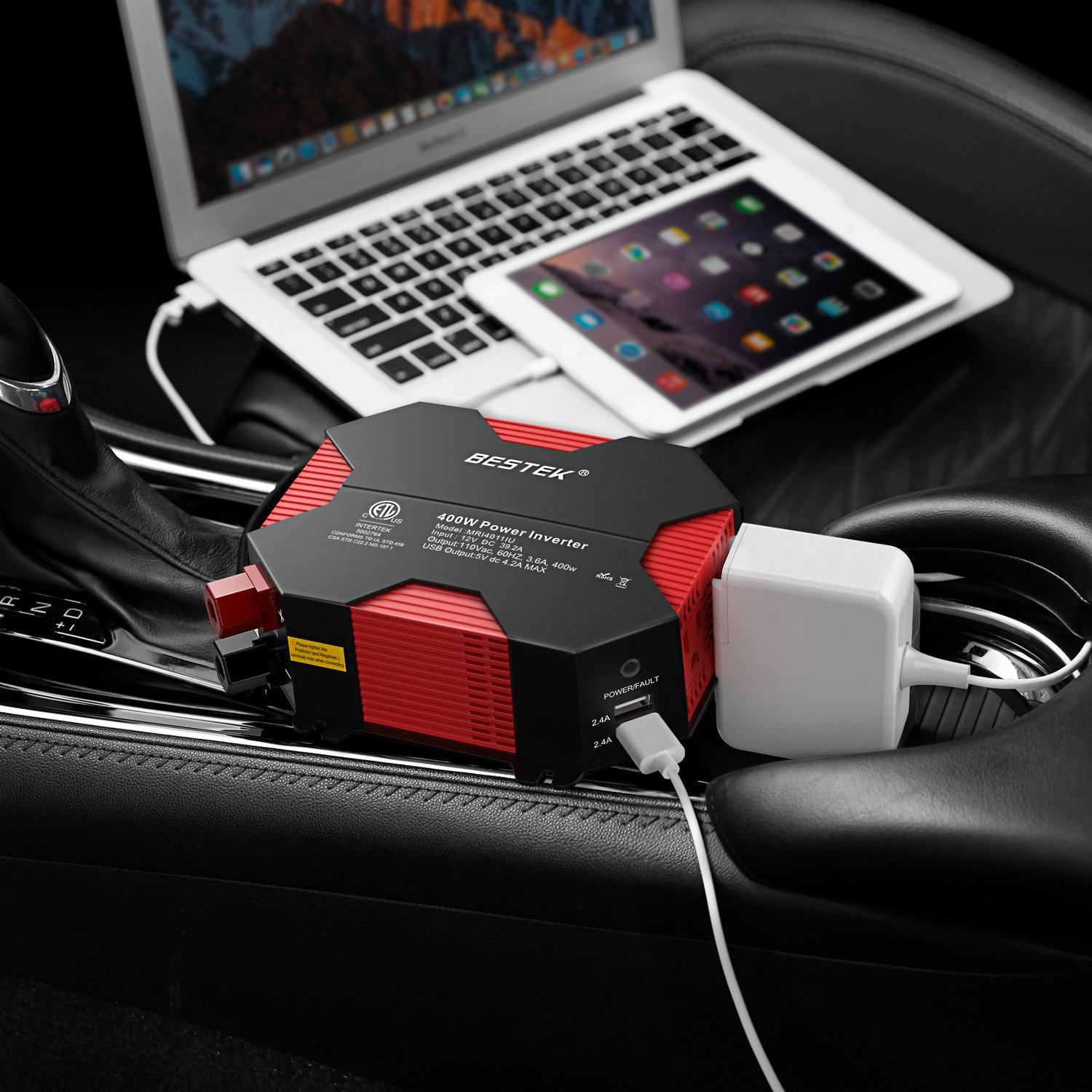 Car Power Inverter by BESTEK 400W Modified Sine Wave Inverter 4 USB Charging Ports DC 12V to AC 110V, MRI4011IU - image 3 of 8