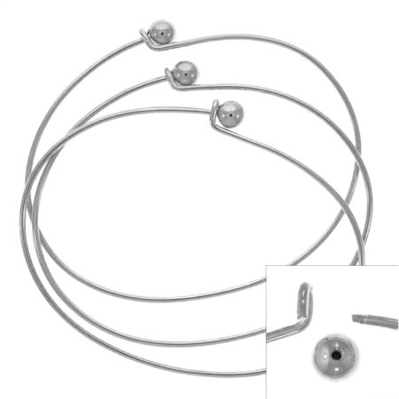 (Silver Plated Wire Beading Bracelet With Ball - Add A Bead (3 Bracelets))