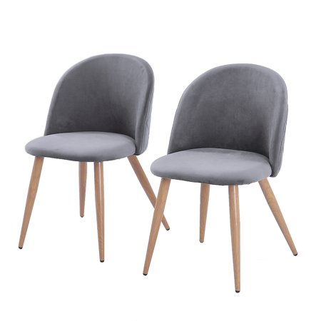 - Zimtown Velvet Dining Chairs for Living Room, Modern Accent Leisure Upholstered Chairs Mid Century, Side Chairs Metal Legs with Wood Pattern, Mid-Back Support,Set of 2