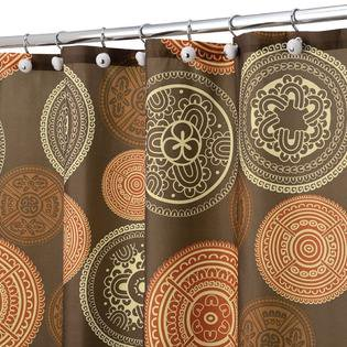 Shower Curtain Bazaar Medallion Brown Orange Spice