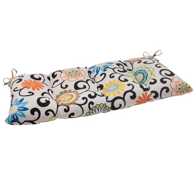 "44"" Waverly Sun-N-Shade Summer Flower Tufted Outdoor Patio Loveseat Cushion"