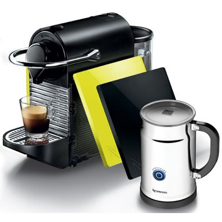 Pixie Aeroccino Plus Bundle Automatic Espresso Maker with Thermoblock Heating Element and Programmable Coffee Volume Set