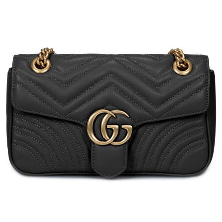 Gucci Marmont Leather Shoulder Bag in Black