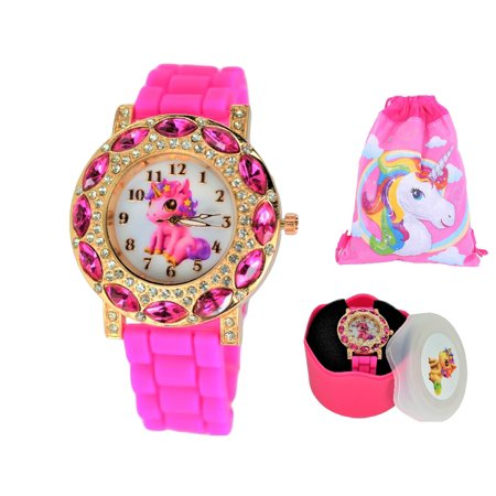 Lucky Baby Unicorn Stones Wrist Watch For Girls.Gold Tone Large Analog Display.Glowing Hands.