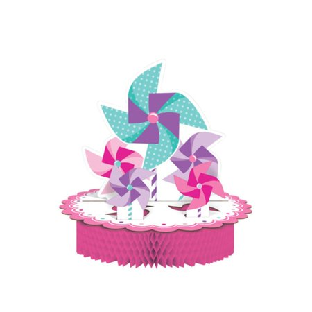 Pack of 6 Candy Pink and Lavender Pop-Up Pinwheel Girl Turning One Honeycomb Centerpiece 11.75