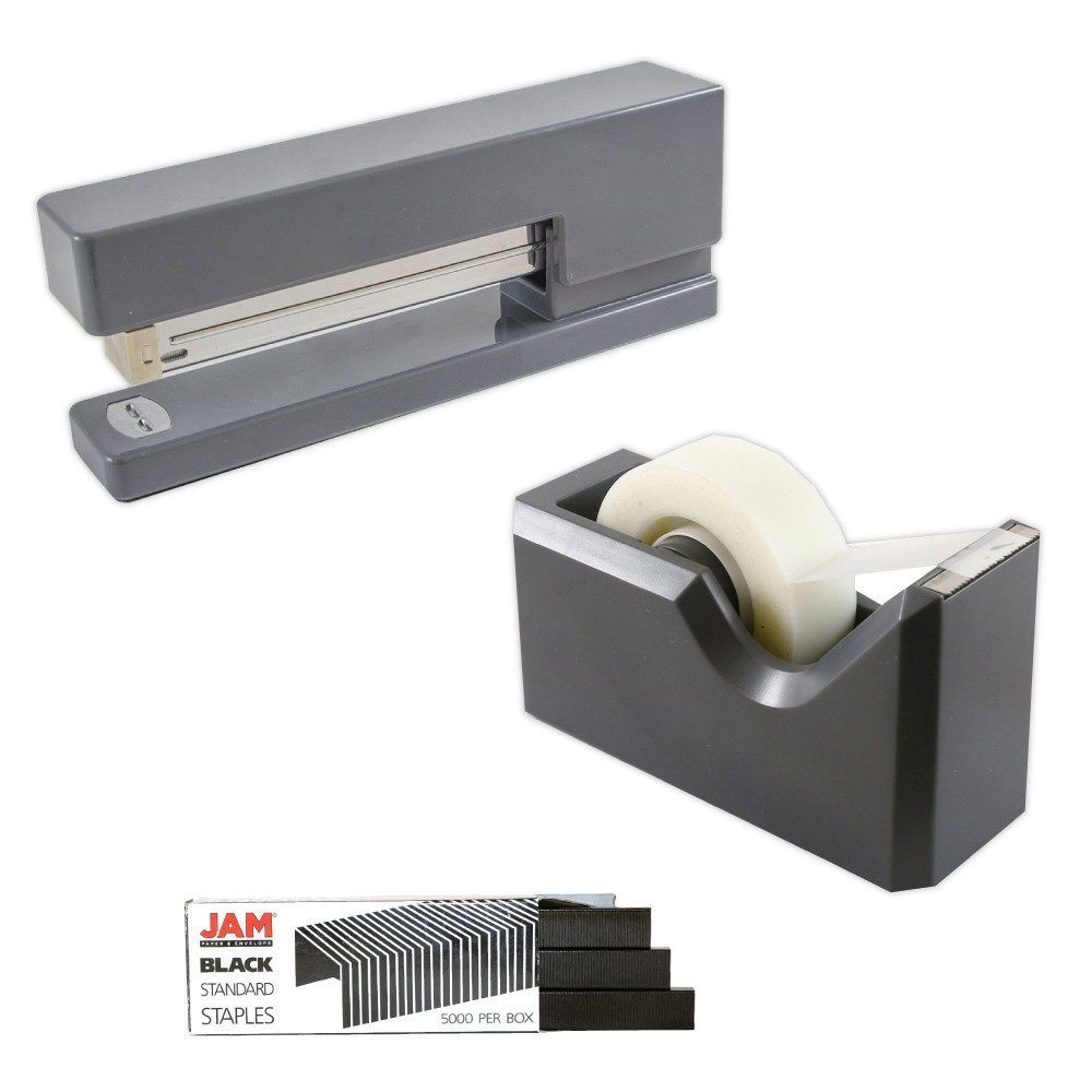 JAM Paper Office & Desk Sets, 1 Tape Dispenser 1 Stapler 1 Pack of Staples, Grey and Black, 3/pack