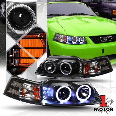 02 Fog Lamp Auto Car - Black Dual Halo Projector Headlight LED DRL Amber Signal for 99-04 Ford Mustang 00 01 02 03