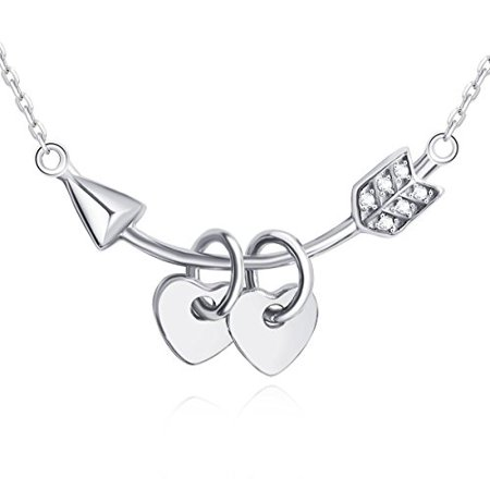 Sterling Silver Mop - Cupid 925 Sterling Silver Necklace Love Heart Pendant for Women & Mom