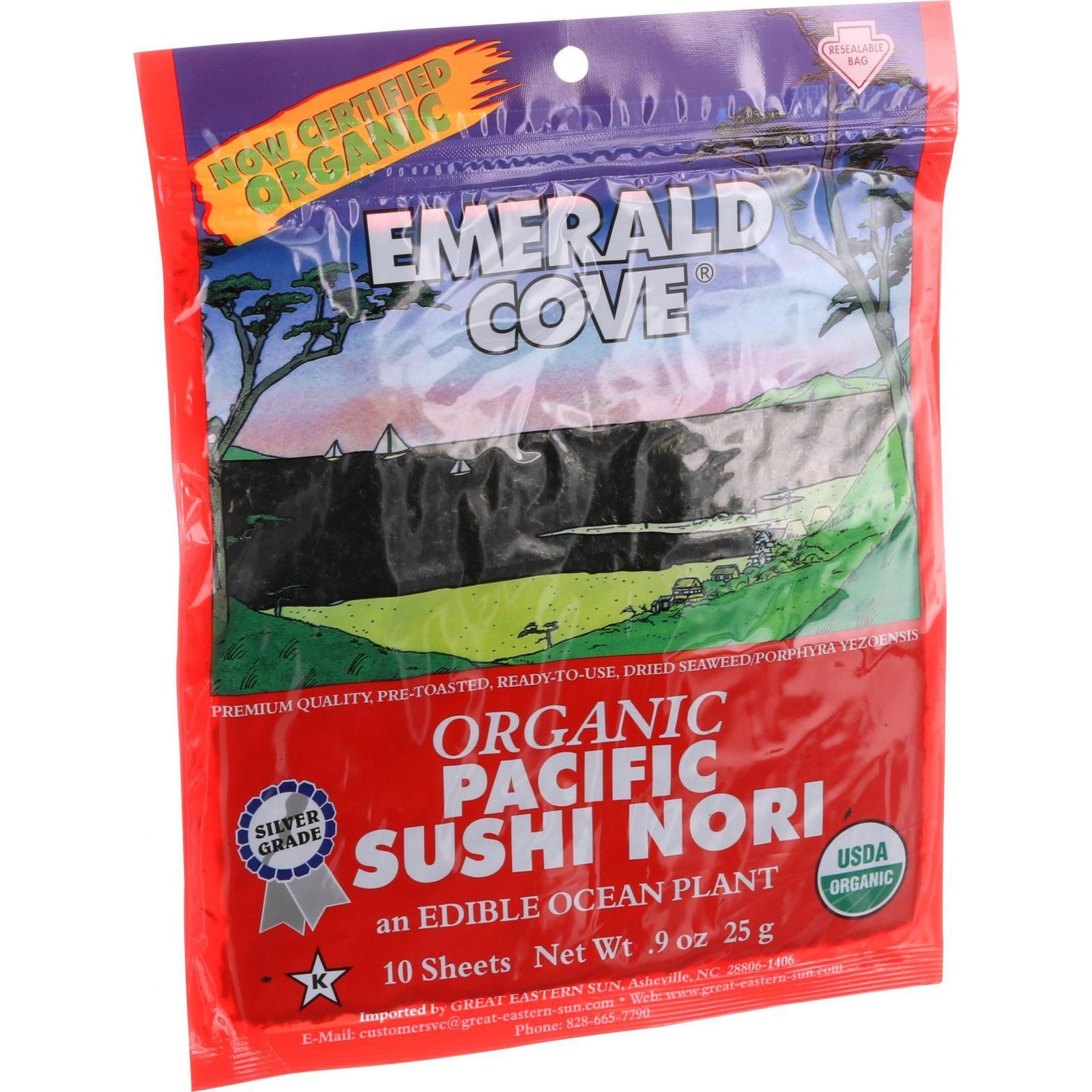 Emerald Cove Organic Pacific Sushi Nori Toasted Silver Grade 10 SHeets Case of 6 by