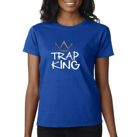 Trendy USA 430 - Women's T-Shirt Trap King Gold Crown XS Royal Blue
