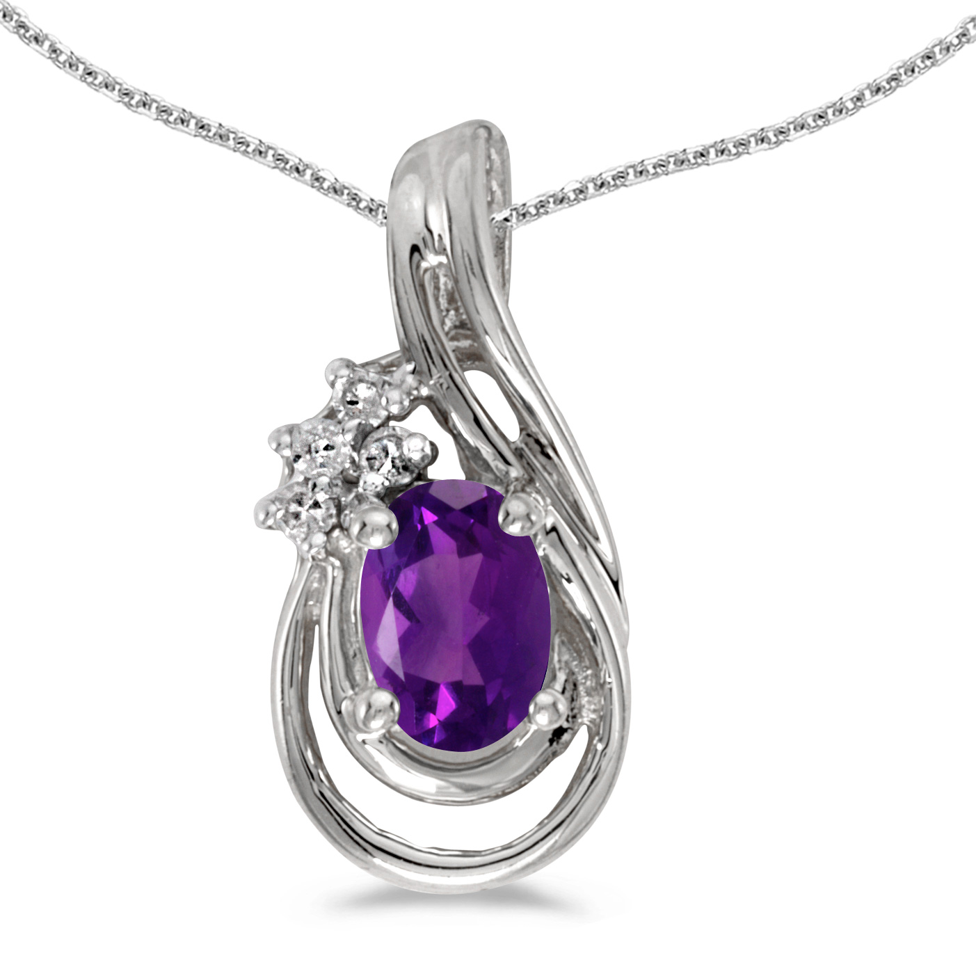 """10k White Gold Oval Amethyst And Diamond Teardrop Pendant with 16"""" Chain by"""