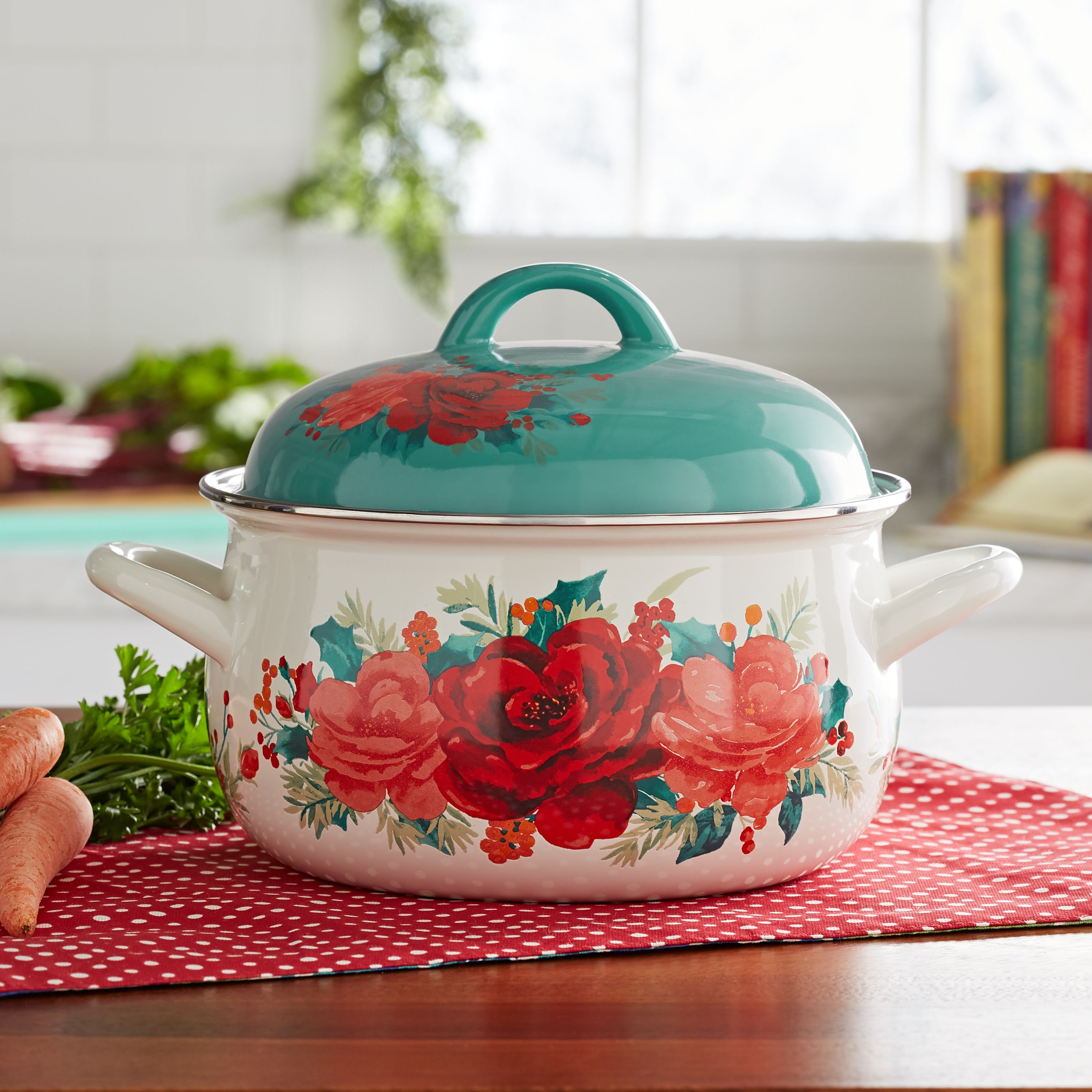 The Pioneer Woman Cheerful Rose 4-Quart Dutch Oven ...