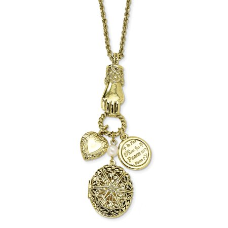 Fancy Lobster Closure Brass-tone Locket and Charms 30 Inch Necklace