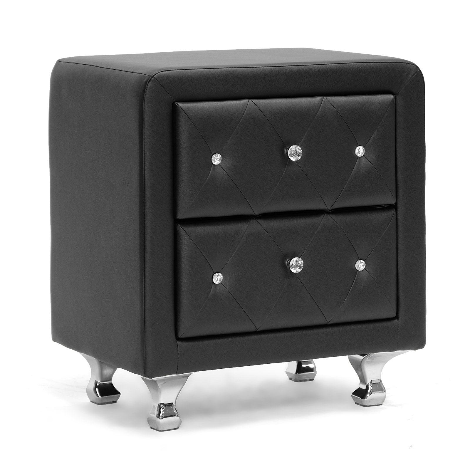 Baxton Studio Stella Crystal Tufted Upholstered Modern Nightstand