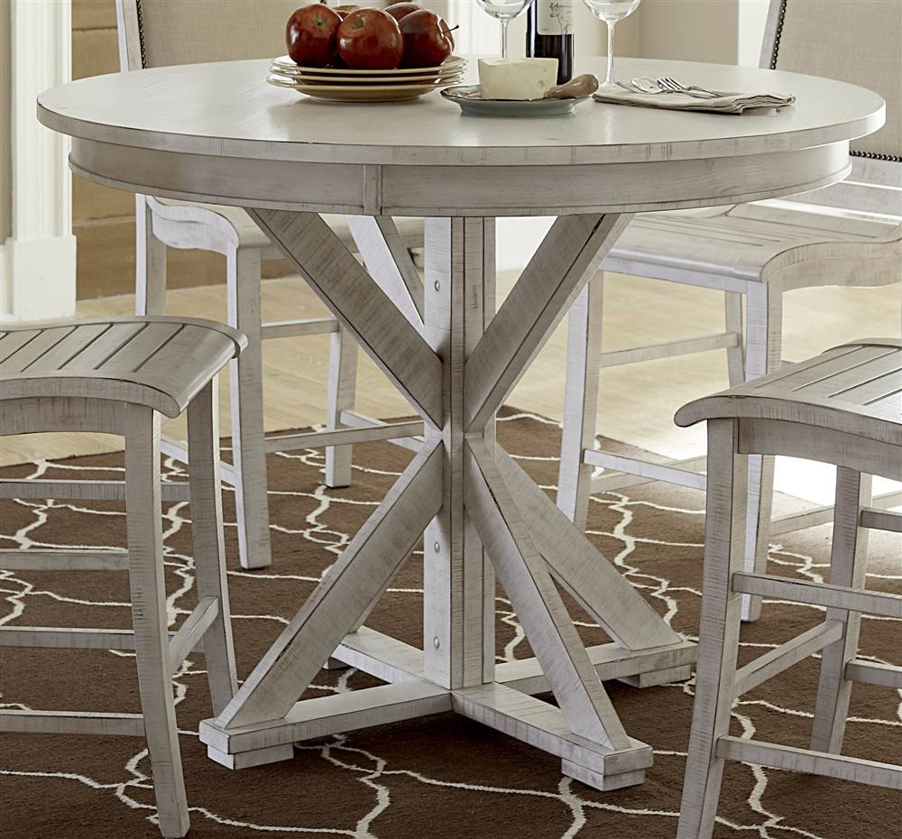 Round Counter Table in Distressed White