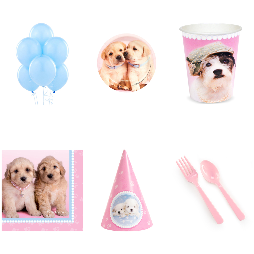 GLAMOUR DOGS PARTY SUPPLIES PARTY PACK FOR 16 WITH CONE HATS AMZ ONLY