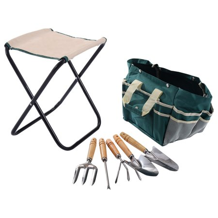 7 pcs garden tool bag set folding stool tools gardening for Gardening tools 7 letters