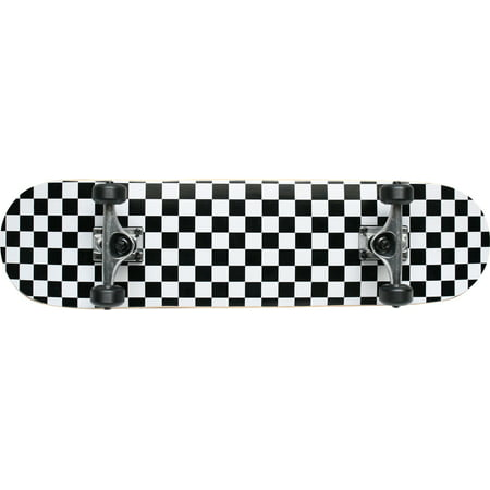 Checker Complete Skateboard - Checker Black/White Pro Complete Skateboard 7.75 Black Wheels Raw Trucks