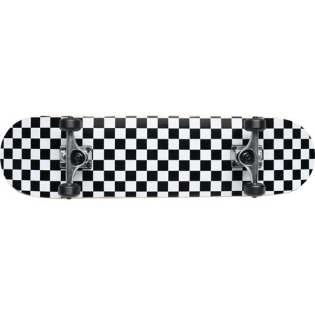 Checker Black/White Pro Complete Skateboard 8.0 Black Wheels Raw Trucks ()