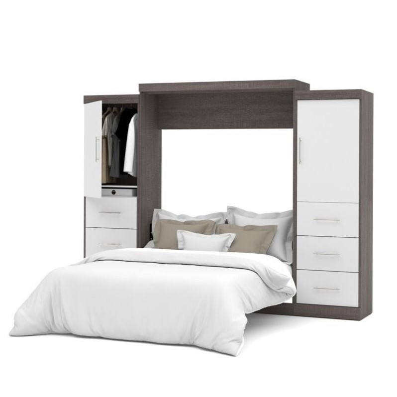"""Atlin Designs 115"""" Queen Wall Bed Kit in Bark Grey and White"""