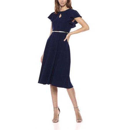 Gabby Skye Women Flutter Sleeve Belted Midi Dress - Career - Flutter Sleeve Belted Dress