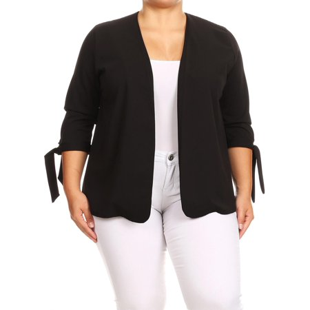 MOA COLLECTION Women's Plus Size Solid 3/4 Tie Cuff Sleeves Open Front Blazer Jacket/Made in (Cuffed Blazer)
