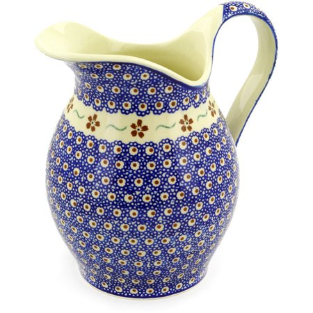 Polish Pottery 63 oz Pitcher (Sweet Red Flower Theme) Hand Painted in Boleslawiec, Poland + Certificate of Authenticity